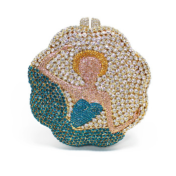 Party Round Ballet Dancing Girl Dress Evening Bag Creative Flower-shaped Luxury Rhinestone Bag Handbag Women Shoulder Bag
