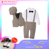 IYEAL NEWEST 2019 Newborn Boy Clothing Sets Top Quality Cotton Gentleman Spring Fashion Rompers + Vest + Hat Autumn Baby Clothes