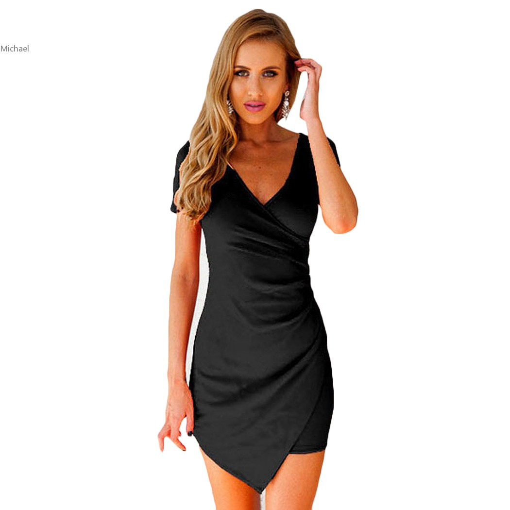 Hem Short Asymmetric Dresses Halter Sleeve Bodycon now