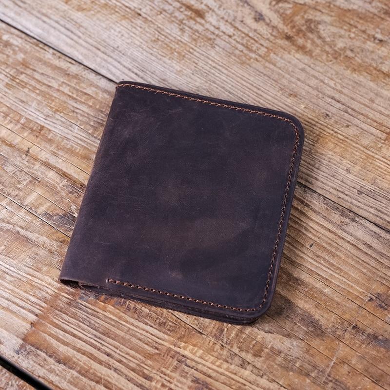 Купить с кэшбэком Gathersun Men Small Leather Wallet Vintage Style Billfold Customized Short Purse for Men Crazy Horse Leather Wallet Minimalist