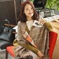 Alta calidad de cachemir bufanda a cuadros de invierno bufanda Tippet gran tamaño chal Bohemia mujer chales bufandas manta marca mantón de la bufanda