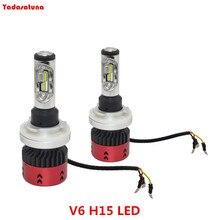 2 Pçs/lote V6 H15 LEVOU Lâmpada Do Farol Kits 110 W 9600LM 6000 K Com Philips ZES Chips/Livre de Erros-oi Feixe/DRL Tempo do Dia Luzes Funcionando