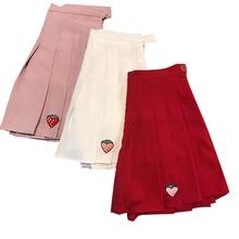 harajuku Kawaii Skirt ulzzang Pretty Korean Embroiery Strawberry Pleated Students Girls A line faldas mujer Mini jupe femme