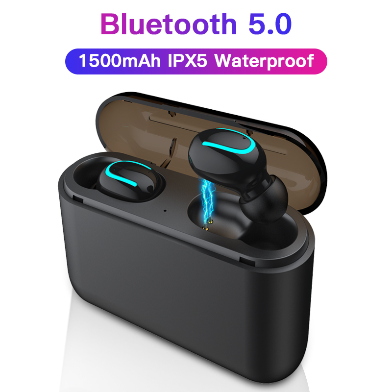Esvne Q32 TWS 5.0 Bluetooth Wireless Earphones Handsfree Headset 3D Surround Sound Sports In Ear  Waterproof  Wireless Earphones-in Bluetooth Earphones & Headphones from Consumer Electronics