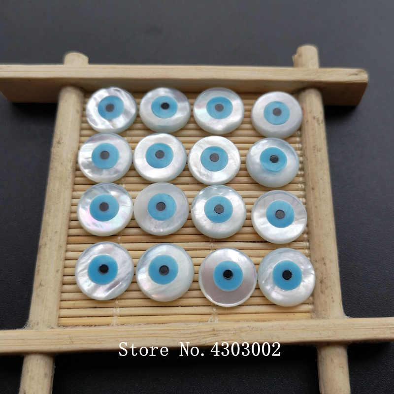 50pcs lot 12mm Natural Round Blue Evil Eye Mother of Pearl shell for DIY Jewelry Round