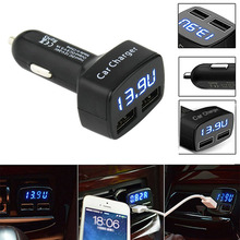 3 1A Fast Dual USB Mobile Phone Charger Voltage Meter Monitor USB Car Adpater Charger for