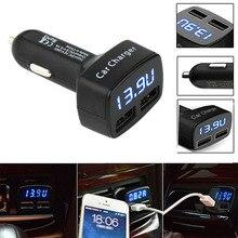 3.1A Быстрый Dual USB Зарядное Устройство Для Мобильного Телефона Напряжения Метр Монитор Автомобиля USB Adpater Зарядное Устройство для Смартфонов с Голубой СВЕТОДИОДНЫЙ Дисплей