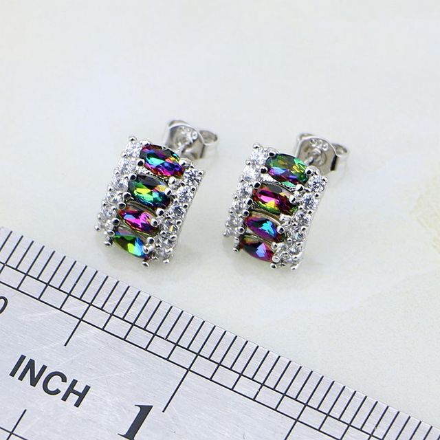 Trendy Mystic Rainbow Fire White Birthstone Charms 925 Silver Jewelry Set