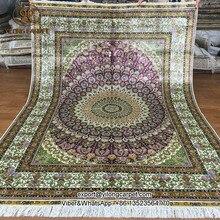 Yilong 5'x7′ cúpulas superior patrones de seda pura carpet anudadas a mano persa alfombra de seda (s109a5x7)