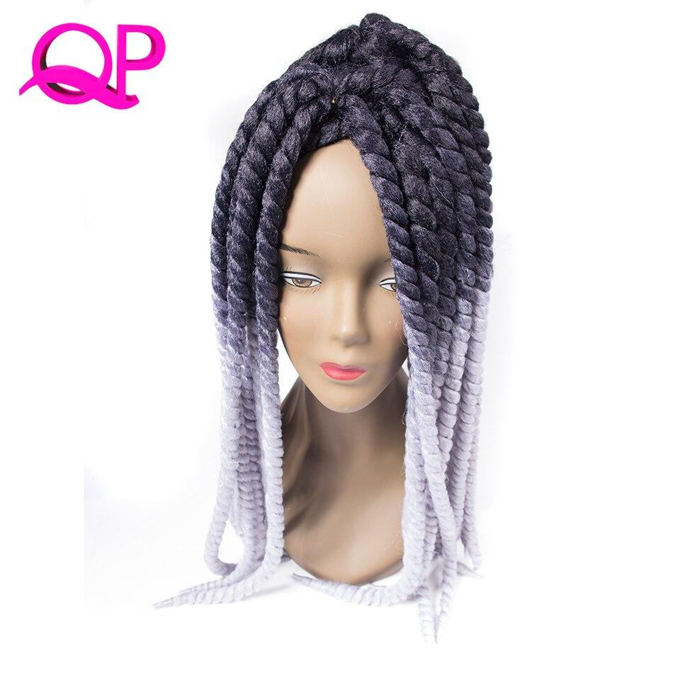Qp hair Ombre Mambo Havana Twist Braiding Hair 2X Crochet Twist Braids Synthetic Black Blonde Gray Blue Kanekalon Hair Extension