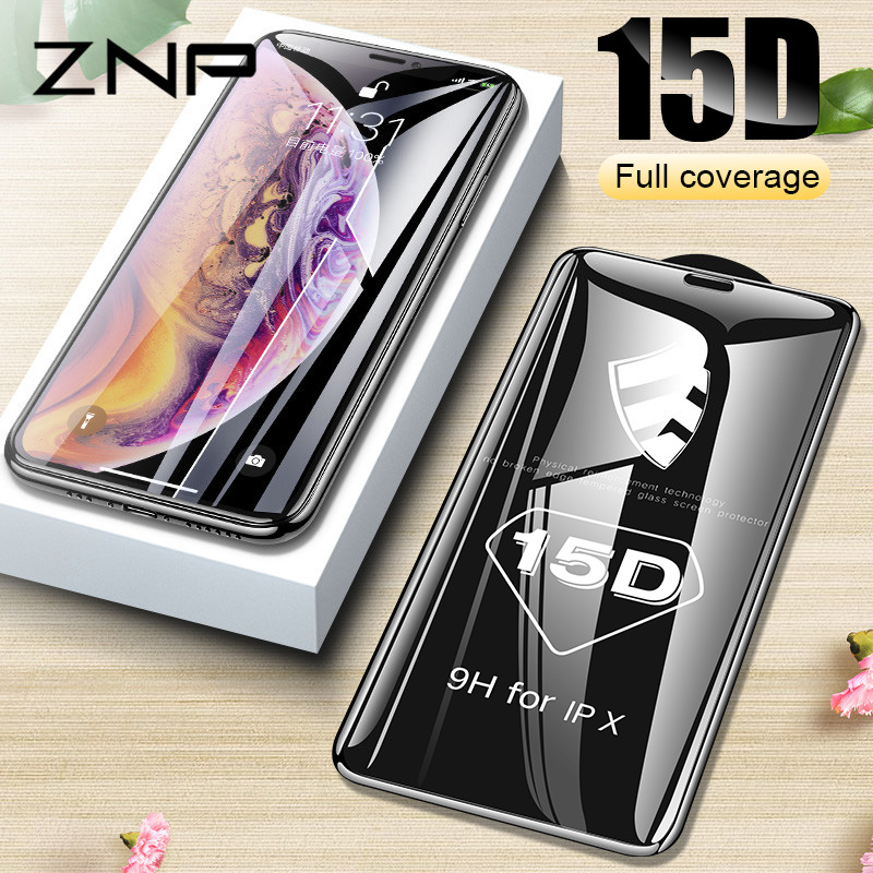 ZNP 15D Curved Edge Protective Glass On The For IPhone 7 8 6 6S Plus Tempered Screen Protector For IPhone X XS Max XR Glass Film