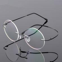 c72d6fc3b7 Steve Jobs Star Style Foldable Ultra-light Memory Titanium Rimless Round  Myopia Eyeglasses Optical Glasses Frame Men Eyewear