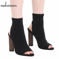 2016 Fashion Women Shoes Stretch Fabric Women Boots Sock Jersey Ankle Boots Black Green Apricot High