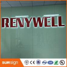 Завод прямых продаж нержавеющей стали освещенный контржурным светом Signage магазина логотип на передней панели металлические буквы