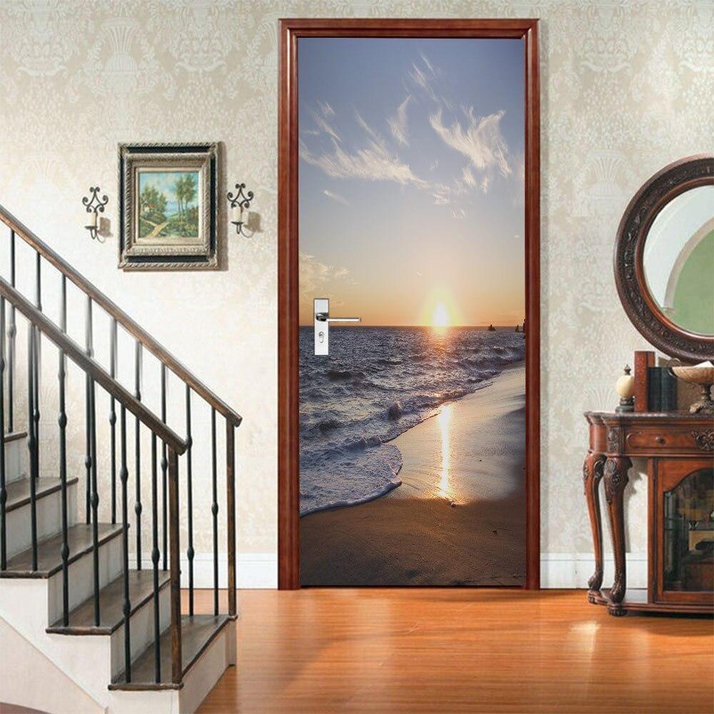 3PCS DIY 3D Beach Seascape Window Wall Sticker PVC Mural Decal Room Home Decor