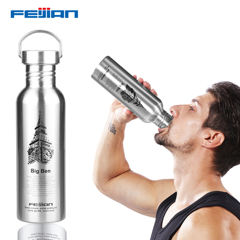 FEIJIAN Water Bottle 304 Stainless Steel Drink Bottle Wide Mouth Leak Proof Flask Kettle 750ml/1000ml for Tour Bicycle Camping Islamabad