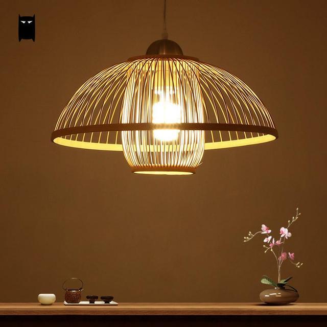 Hanging Japanese Lamp: Natural Bamboo Wicker Rattan Shade Flower Bud Pendant