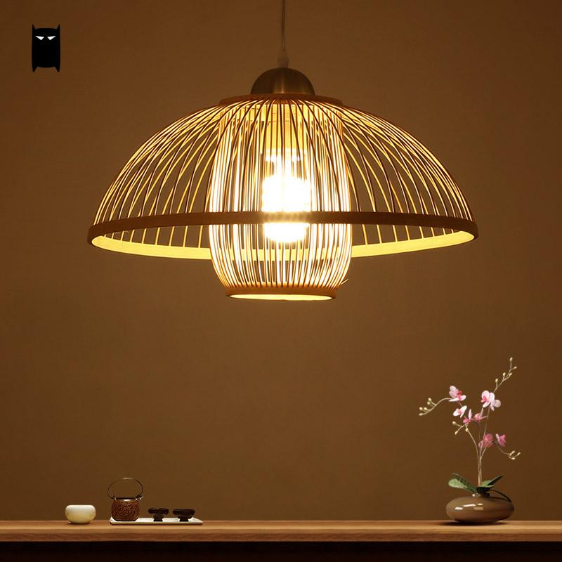 Natural Bamboo Wicker Rattan Shade Flower Bud Pendant Light Fixture Rustic  Asian Japanese Hanging Lamp Design Dining Table Room