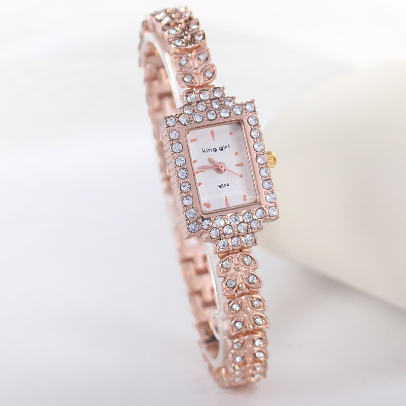 Rose Gold Bracelet Bangle Rhinestone Crystal Wrist Watches Ladies Watch Original rectangle Quartz Women Fashion Wristwatches - Mia shop store