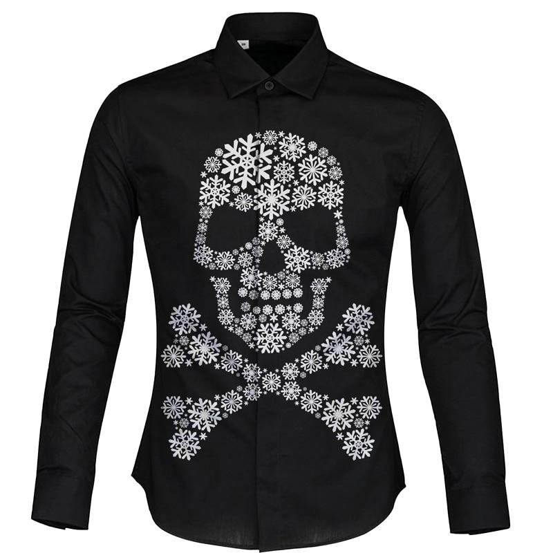 Cloudstyle Snowflake Skull Camisa de manga larga 3d negra Moda - Ropa de hombre