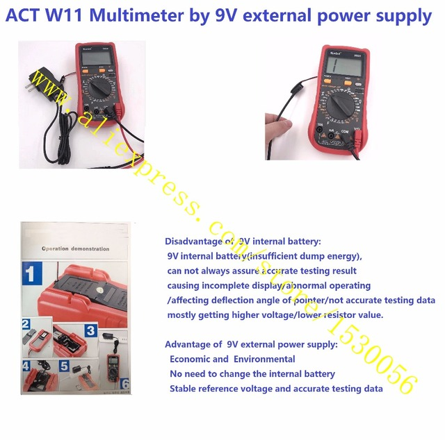 ACT W11 Multimeter by 9V external power supply, Stable reference