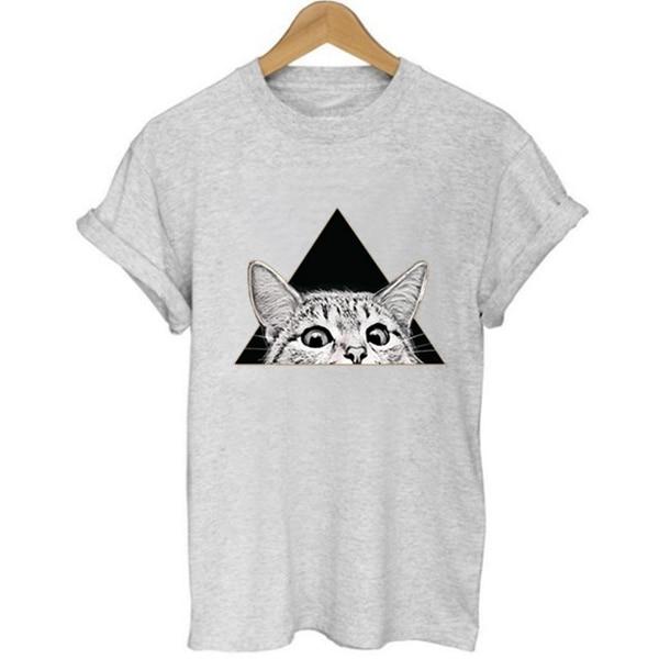 Unisex Loose Style Cat Funny T shirt 2018 Summer Women Cute Kawaii Print T-shirt Swag Harajuku Vogue Female Printed Tshirt