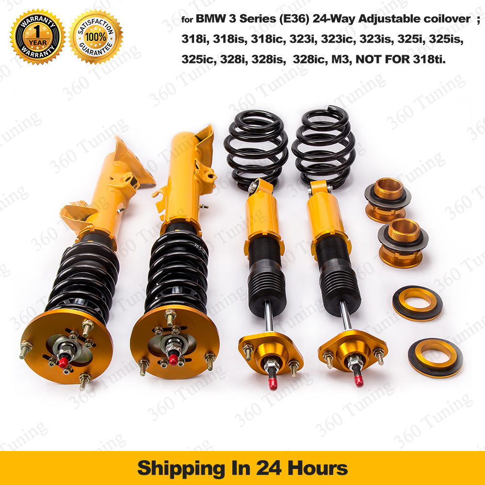 Aliexpress com buy for bmw e36 3 series 318 325 adjustable damper coilover shock absorber coil spring strut coupe limo saloon estate touring golden from