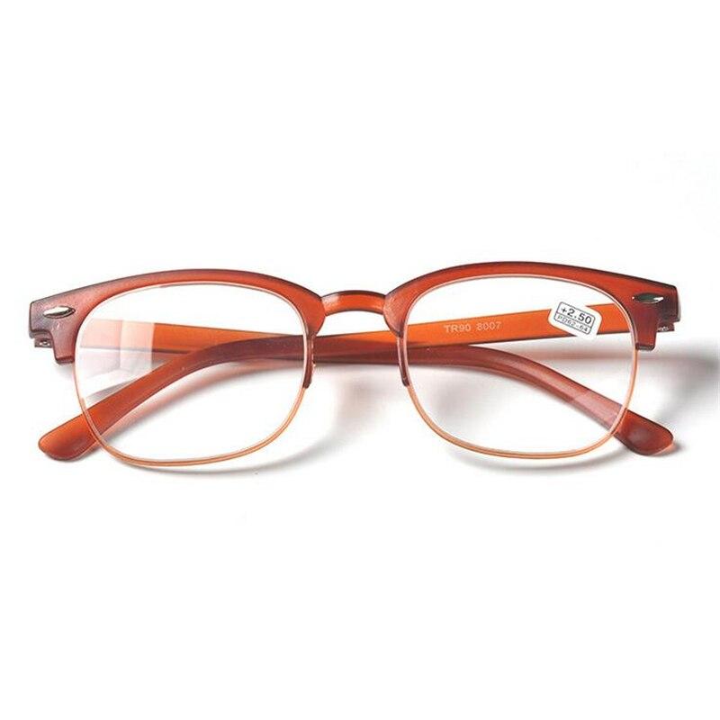 Ультра-легкие TR90 очки для чтения унисекс с плоскими стеклами и половинной рамкой лупа очки коричневый/черная оправа+ 1,0+ 1,5+ 2,0+ 2,5+ 3,0+ 3,5+ 4,0 - Цвет оправы: Brown