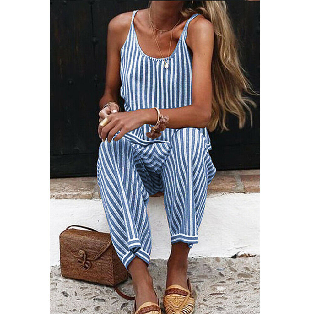 2019 New Womens Striped Wide Leg Jumpsuit Ladies Dungarees Strappy Pants Loose Jumpsuit Baggy Trousers Overalls Pants(China)