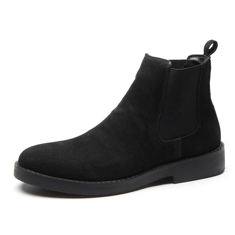 Bege Mens Cáqui Luxo Sapatos Chelsea Couro Moda preto cinza Homem Venda Errfc Camurça Quente De Casuais Porco Bege Concisa Boots Ankle 44 Botas khaki IttaZfq