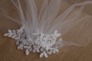 Image 2 - เจ้าสาวสีขาว Birdcage veil, Blusher Veil, หูฟังเจ้าสาวลูกไม้ fascinator Diamante ไข่มุก