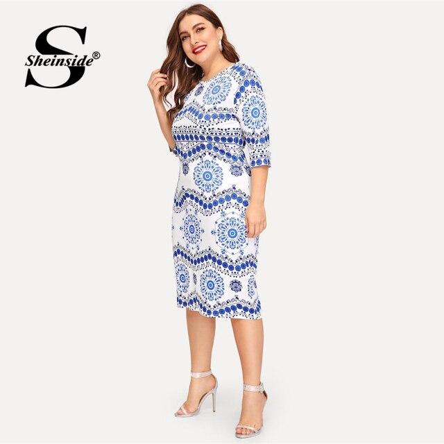 Sheinside Plus Size Elegant Porcelain Print Summer Dress Women 2019 Casual Half Sleeve Trim Midi Dresses Ladies Bodycon Dress 2