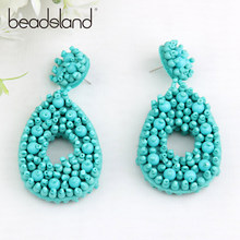 Beadsland Drop Earrings Colorful Manual Nail Glass Beads Water Design Fashion Woman Girl Party Festival Hot Sell Gift 40235