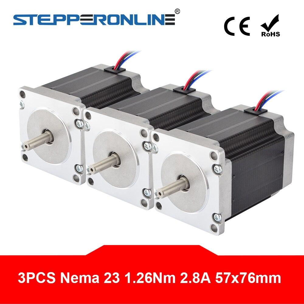 3PCS Nema 23 Stepper Motor 1 9Nm 269oz in 76mm 2 8A 4 lead Nema23 Step