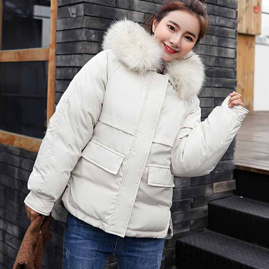 New Arrival Cotton-padded Thicke Warm Winter Coat Women Fur Collar Hooded Outwear Parka Female Short Women Jacket Plus Size