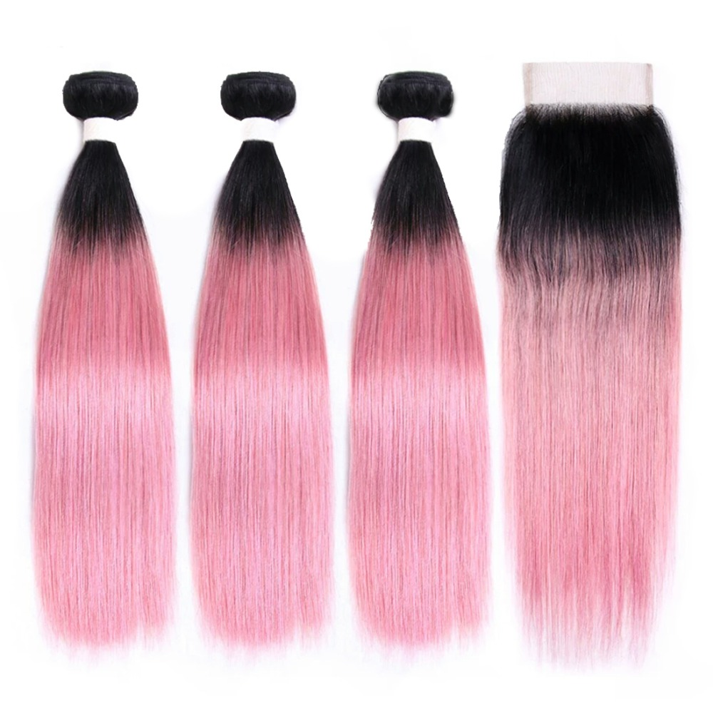 OT Rose Pink Ombre Malaysian Straight Hair Bundles With Closure Human Hair 3 Bundles With Closure10