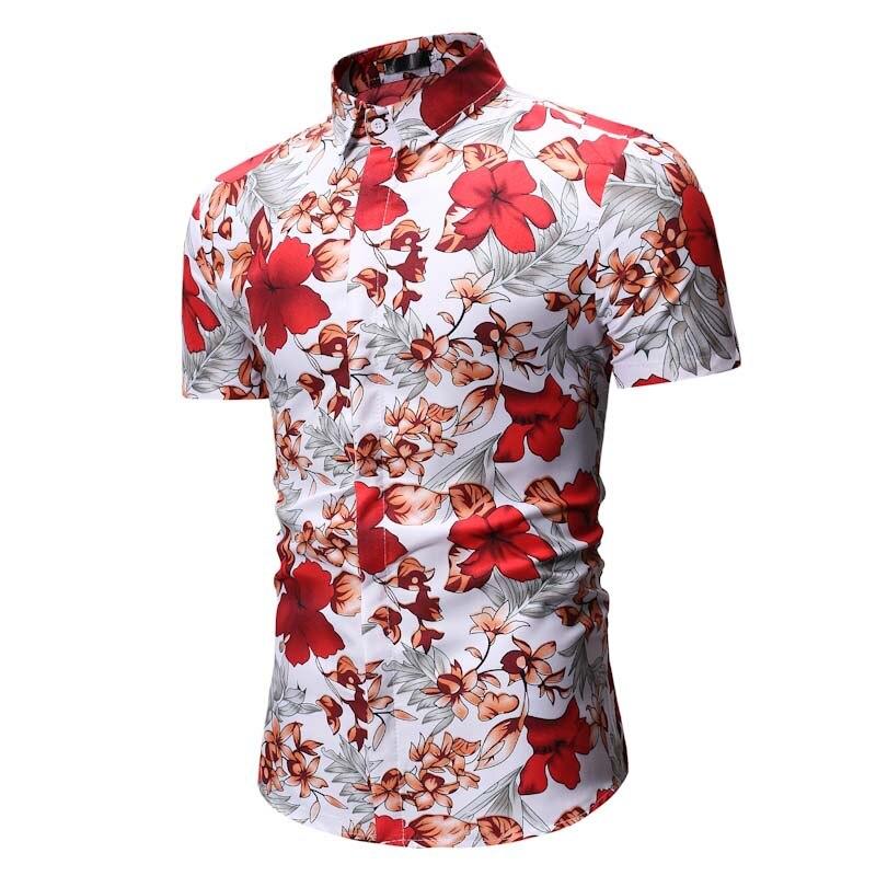Flower Printed Men Shirt 2019 Summer Floral Shirts Men Dress Camisa Hombre Casual Slim Fit Short Sleeve Hawaiian Shirt Size XXXL