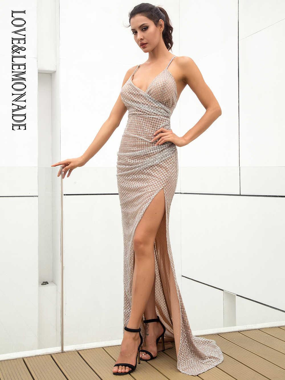 Любовь и лимонад сексуальный глубокий v-образным вырезом с открытой спиной плиссированный элемент клетчатый Giltter клей материал длинное платье LM81213 серебро