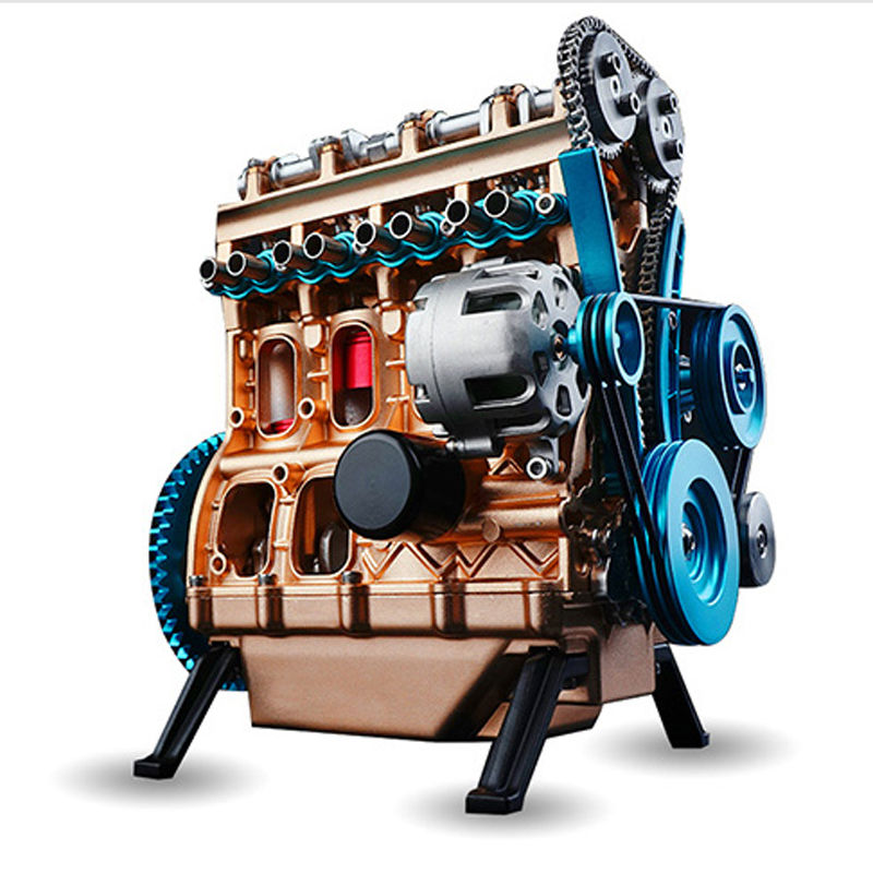Full Metal Assembled Mini Four cylinder Inline Gasoline Engine Model Building Kits for Researching Studying Toy Christmas Gift