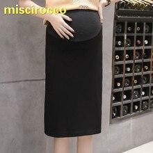 Одежда для беременных из хлопка, высокая эластичность, юбка для беременных женщин, летняя юбка, Весенняя женская юбка, Одежда для беременных, Черная
