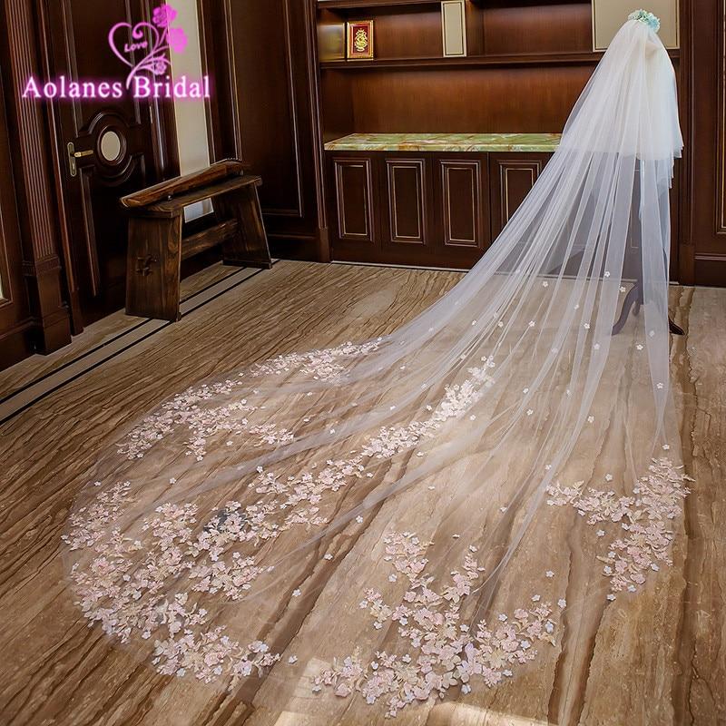 AOLANES 2018 rose clair Appliques bord 3 M de large 3.5 M de Long voiles de mariée deux couches cathédrale Mariage Voile avec peigne Voile Mariage