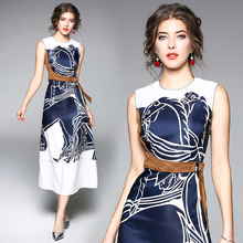 Summer Sleeveless O-Neck Slim Fit Printing A-line  Elegant Dress European Style High End Office Lady Women Clothing