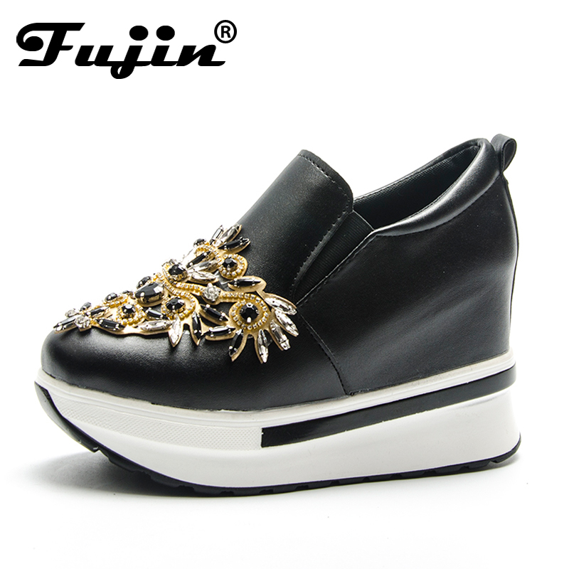 Fujin Brand Spring Summer Autumn High Heels Women Shoes Fashion Rhinestone Platform Shoes Slip On Ladies Shoes Wedges