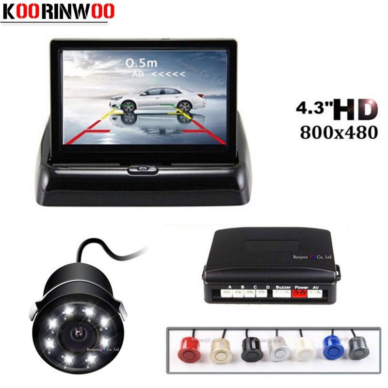 Carro Sensores de Estacionamento Parktronic Koorinwoo 8 Luzes LEDs de visão Noturna Câmera de visão Traseira Do Carro 4.3 Polegada Dobrável Monitor de Tela Digital