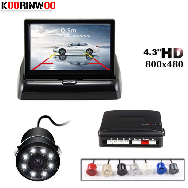 Koorinwoo Parktronic Car Parking Sensors Night Vision 8 LEDs Lights Car Rear View Camera 4.3 Inch Folding Monitor Screen Digital