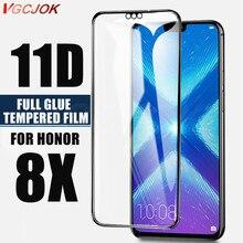 Película protetora de vidro temperado 11d, cobertura de tela em vidro temperado para huawei honor 8x, proteção temperada filme filme