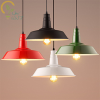 American Style Retro Iron Lampshade Pendant Lights for Coffee Restaurant Industrial Style Bar Hanging Lamp Loft Lighting Fixtur