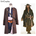 Pirates of the Caribbean Captain Jack Sparrow Cosplay Costume Jacket Vest Belt Shirt Pants Halloween Christmas Outfit Full Set