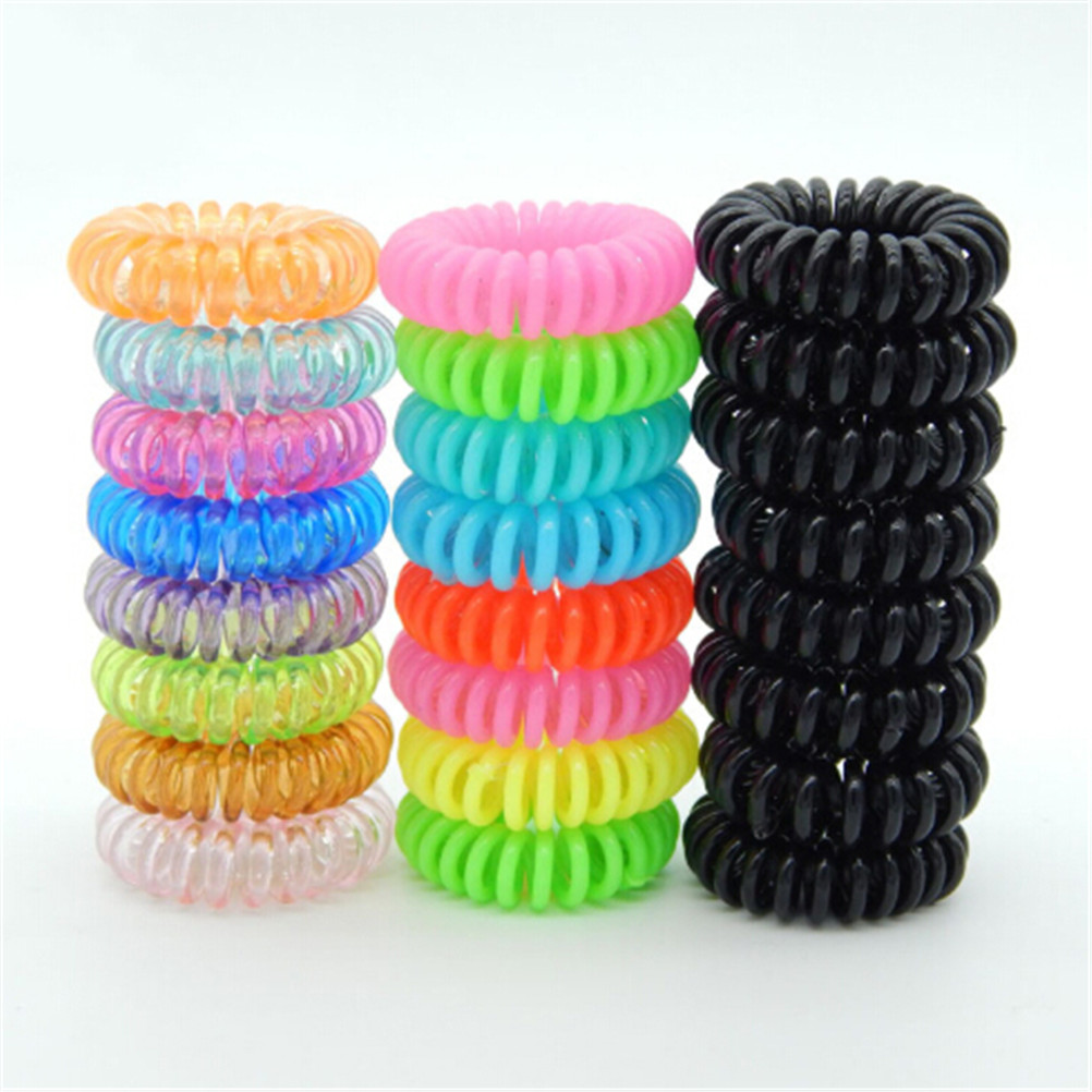 Velishy 10pcs Elastic Hair Bands Cleartelephone Wire Plastic Spring Gum Hair Ties No Crease Coil Ponytail Party Gift Kid Toy Mother & Kids Accessories