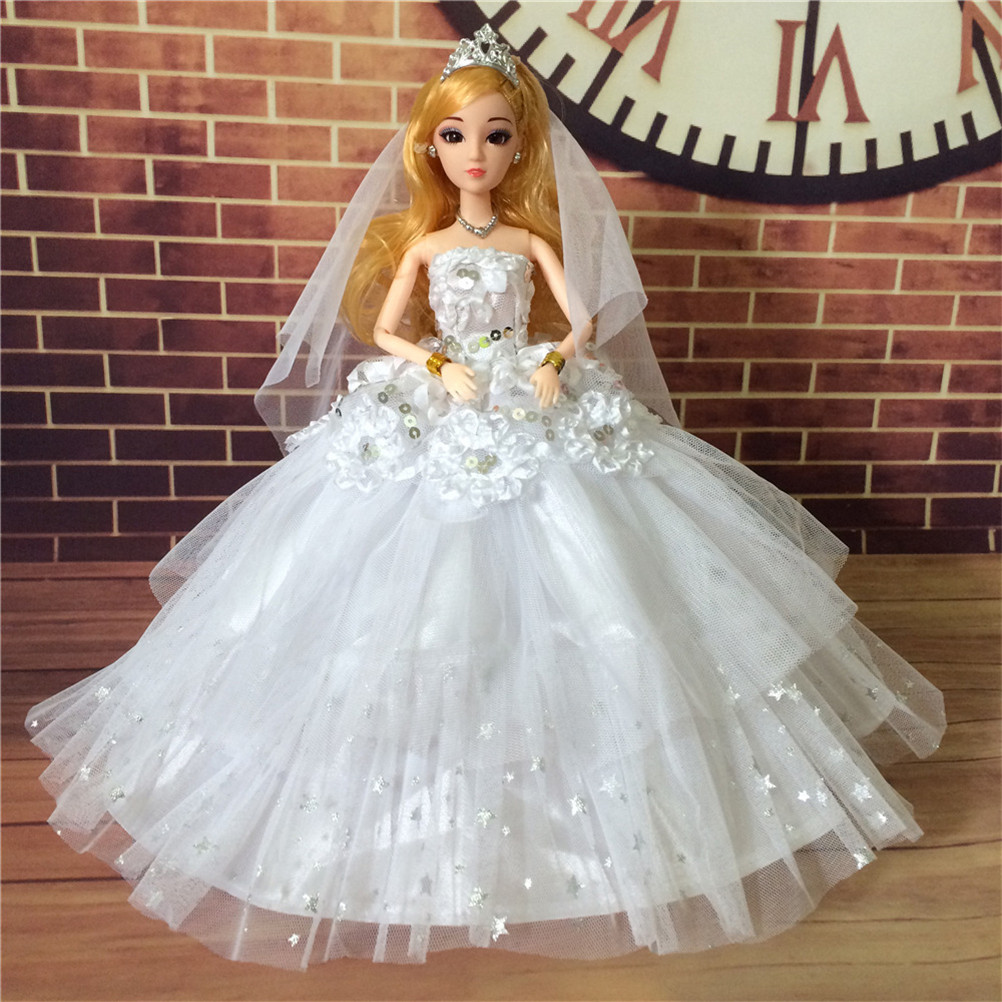 Robe de mariée brodée robe de princesse vêtements de fête de mariage longue robe blanche rose pour poupée bébé accessoires filles